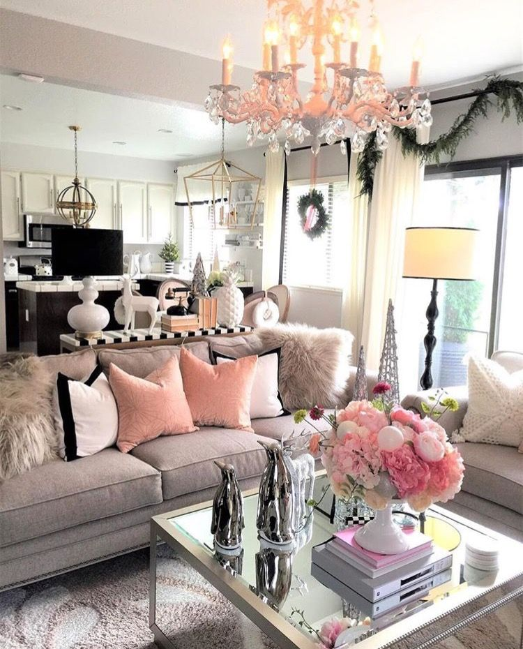 Wohnzimmer ideen pink  Loving the pink white and grey color scheme | My Parisian, shabby ...