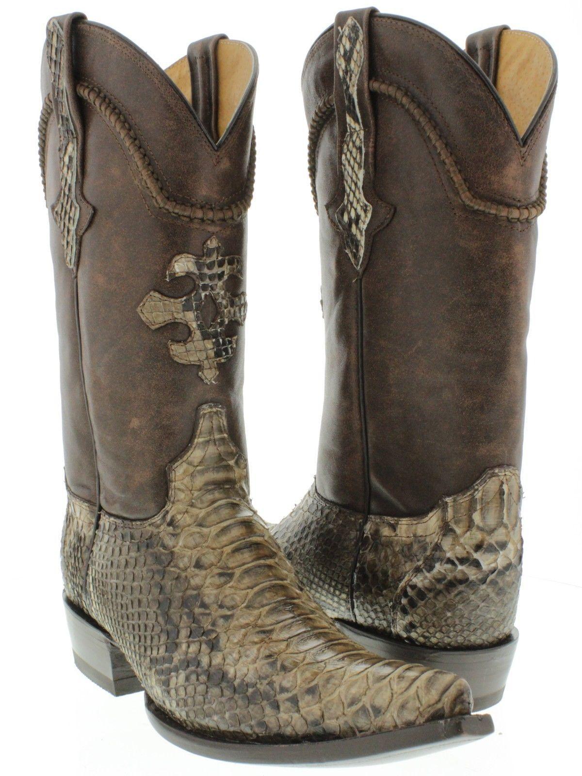 Men's genuine brown python snake skin cowboy boots western exotic biker xxx  toe