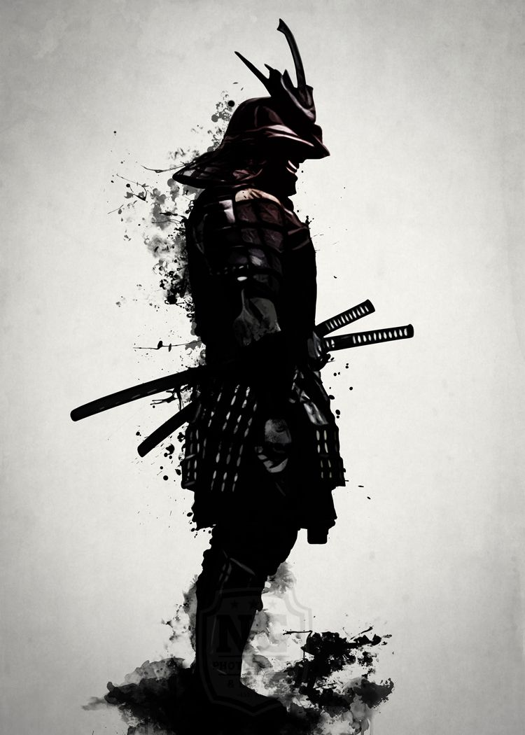 SCARY JAPANESE SAMURAI WARRIOR SKETCH STYLE CANVAS PRINT WALL ART PICTURE