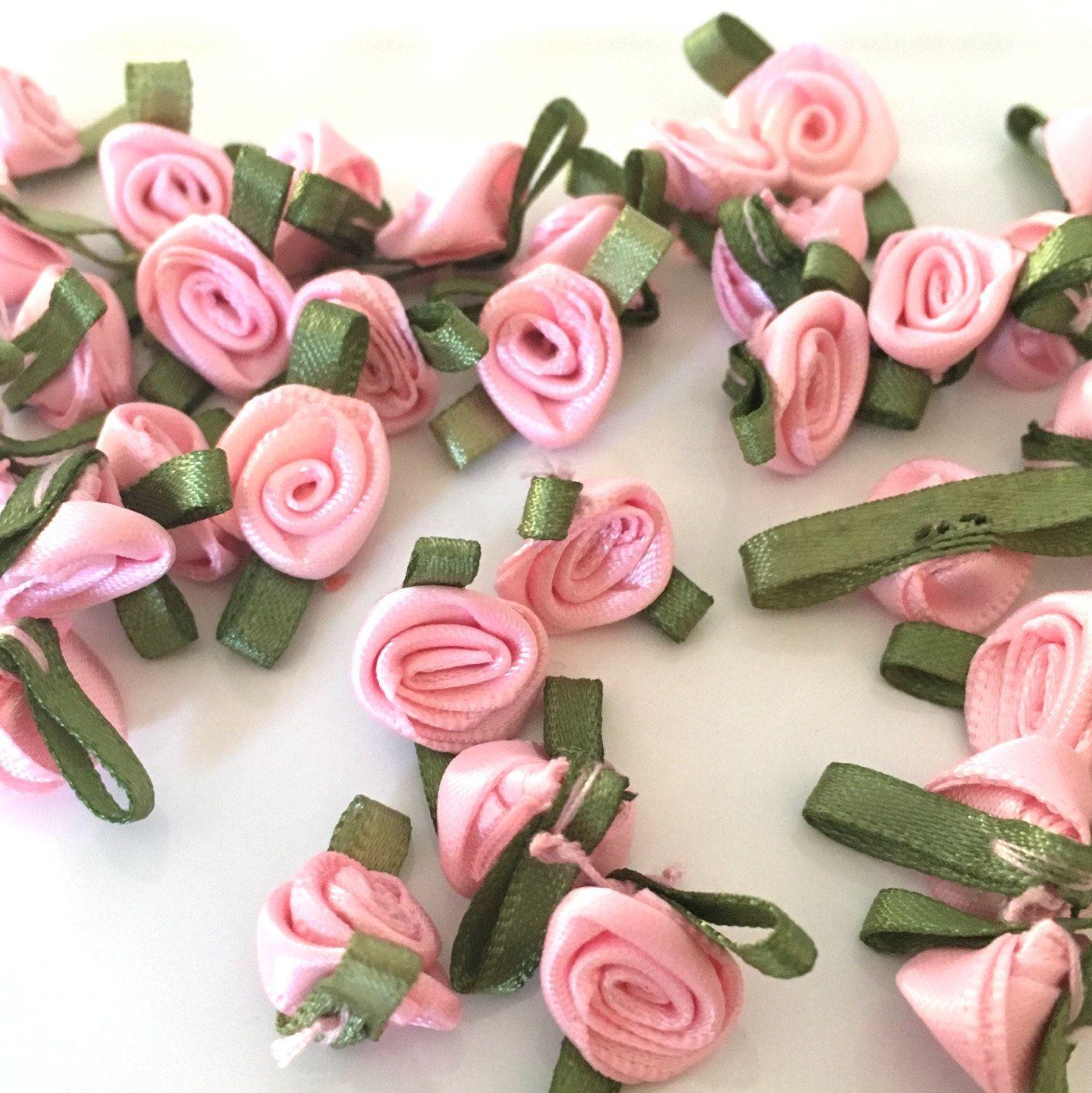 20 Pink Ribbon Roses Satin Ribbon Roses Pink Satin Roses Sew On