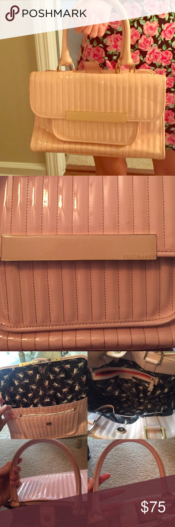 Ted Baker Purse Used Nude pinkish Ted Baker Purse inside the  handles has few Marks and where says Ted baker has scratches not noticeable inside looks like new has 3 pockets the big one a smaller & little one the first pocket never been used still has the paper inside.        Accept reasonable offers:) Ted Baker Bags Shoulder Bags