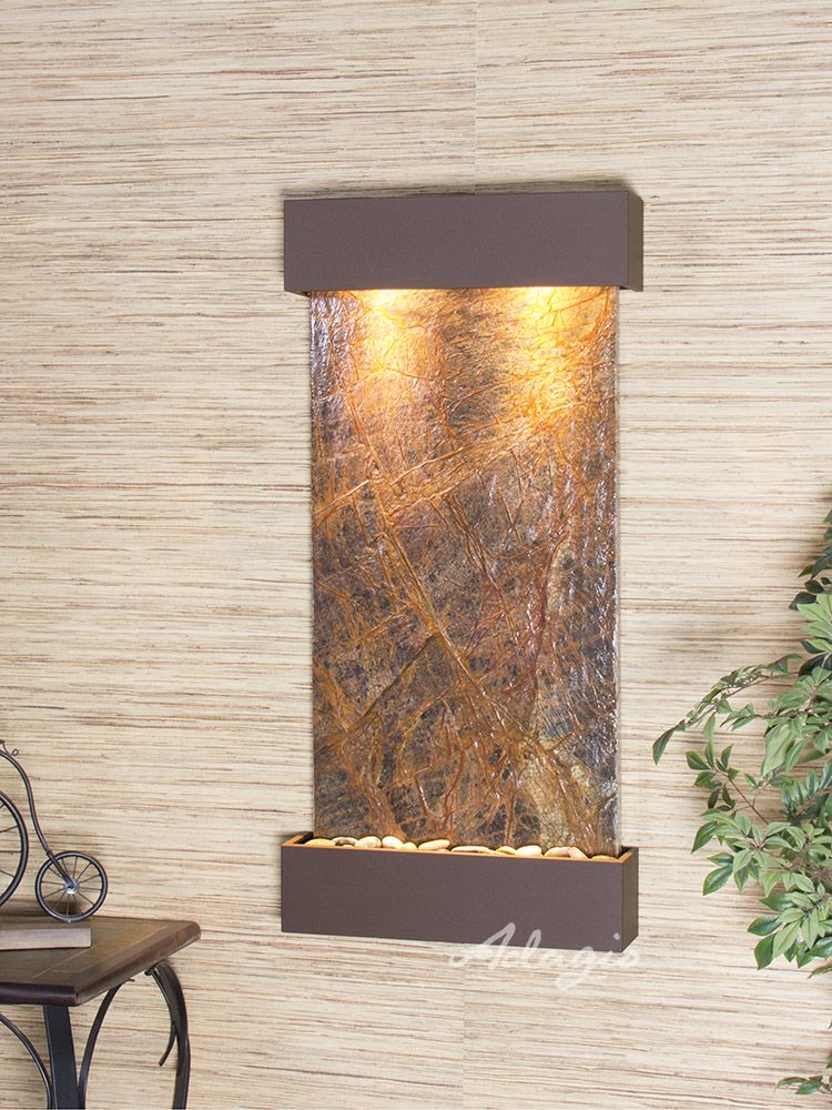 The Whispering Creek Wall Water Fountain Is Both Physically Beautiful And Totally Perfect Positioned Vertically The Water Feature Wall Wall Fountain Fountain