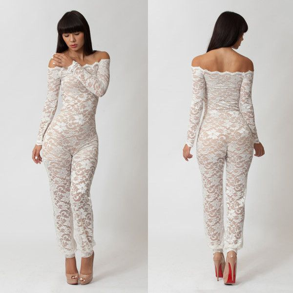 Free Shipping New 2014 Sexy Club Bodycon black   white Lace jumpsuit  Fashion Elastic Bandage rompers womens jumpsuit SJ1012 eaefe5a0085b
