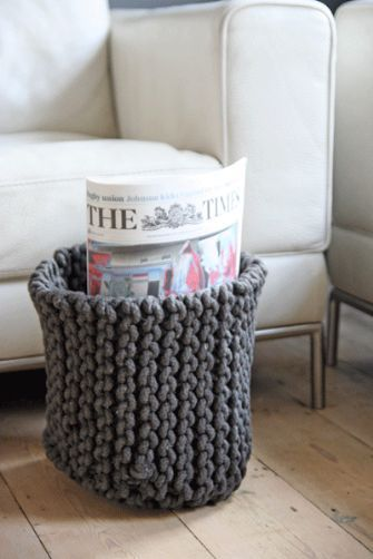 Perfect For Newspaper And Magazine Storage!! Rope Knitted Storage Baskets