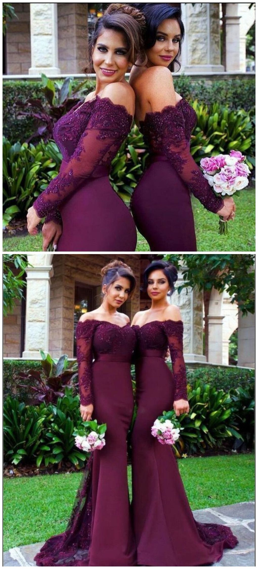Long sleeve lace prom dress, Purple Mermaid prom dresses