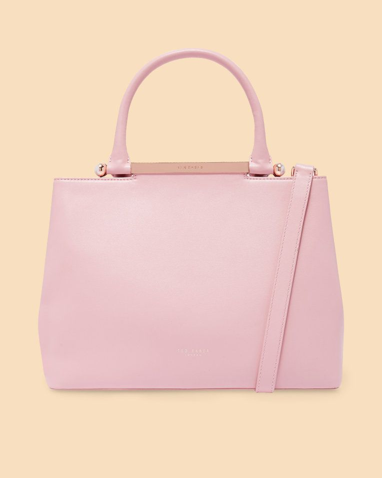 e2b0b2a79b0c Pearl handle large leather tote bag - Dusky Pink