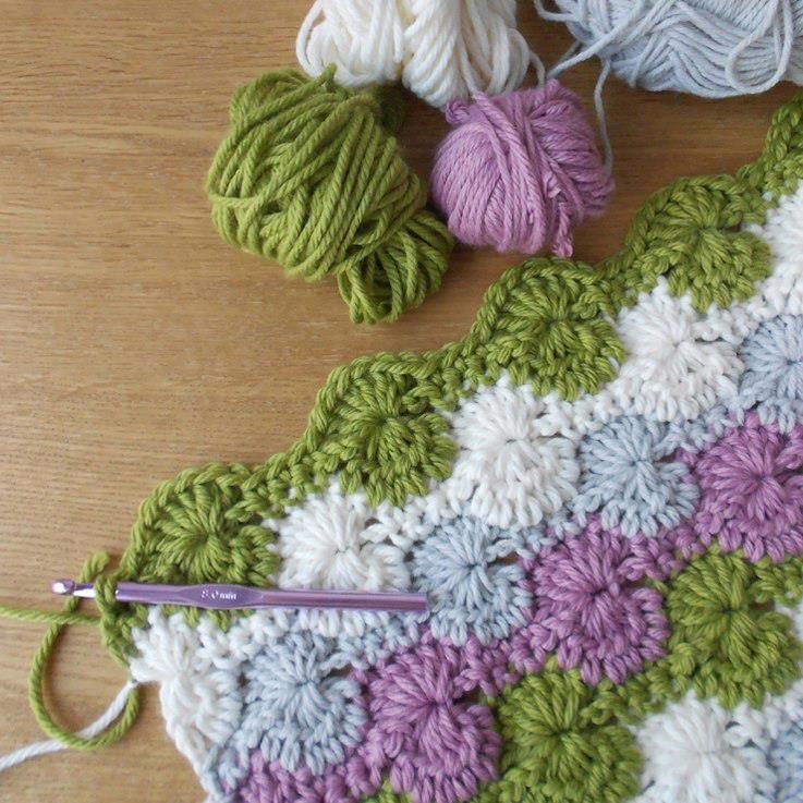 Facile crochet couverture - Starburst tutoriel point de feston ...
