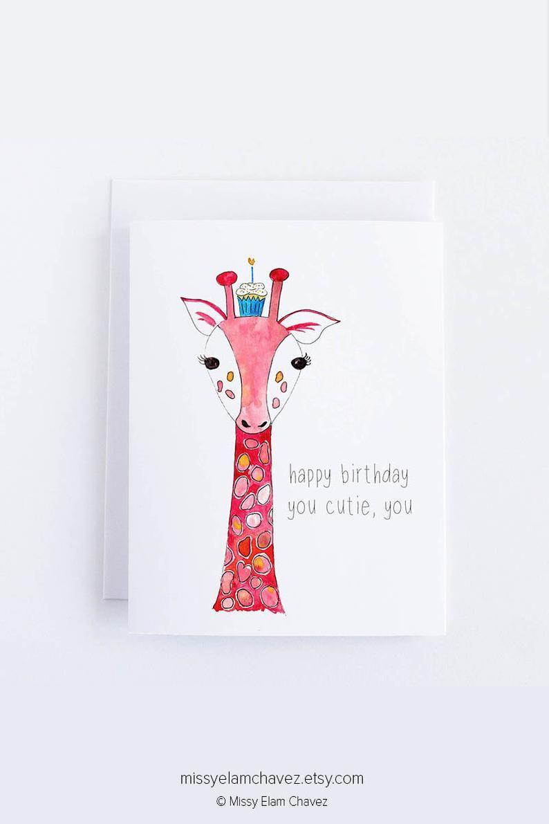Giraffe Birthday Card Happy Birthday You Cutie You This Etsy Giraffe Birthday Animal Birthday Birthday Cards