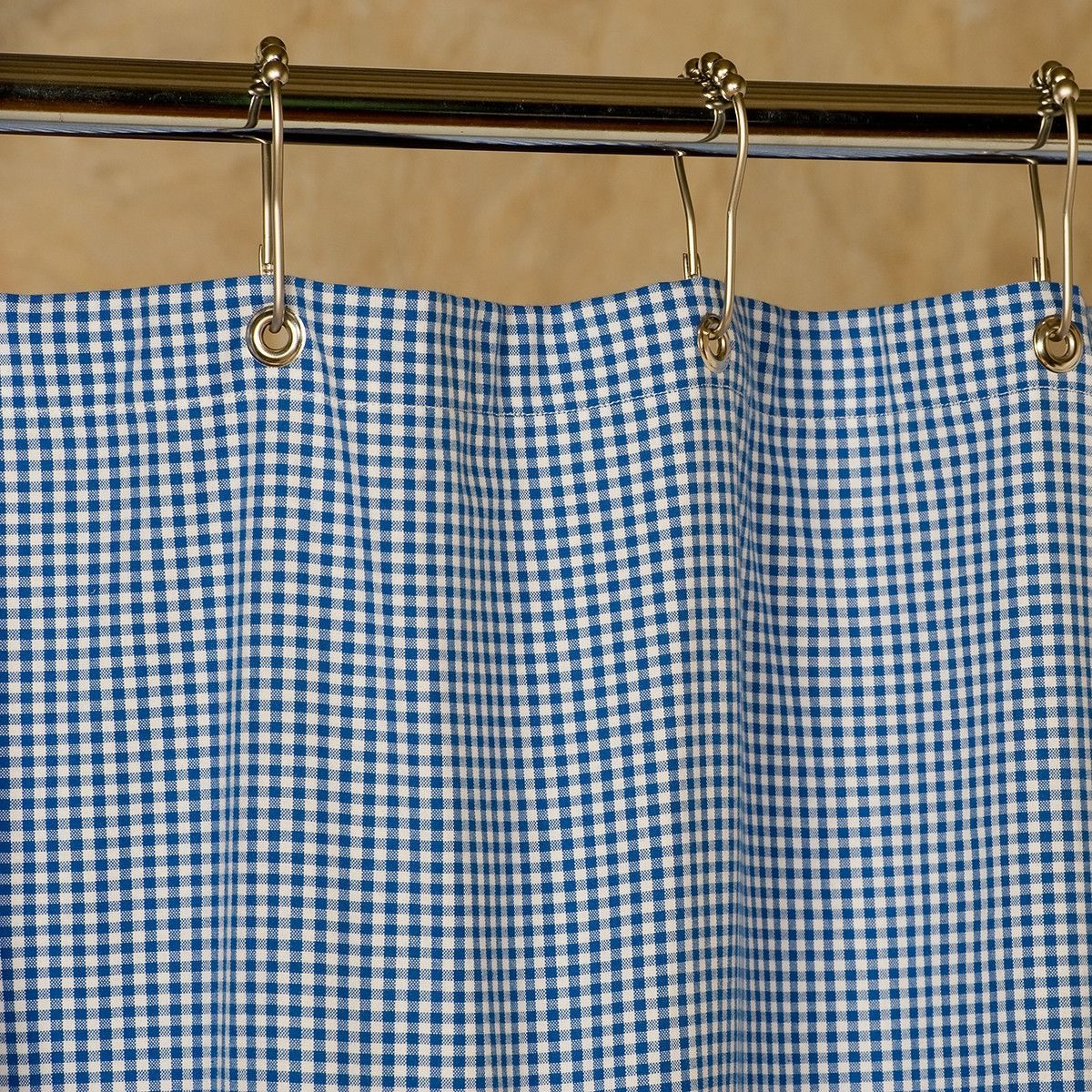 72x72 Standard Size Blue And White Gingham Shower Curtain 12 Grommet Top This