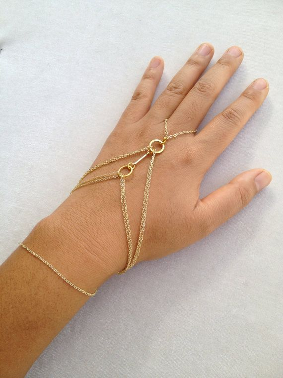 Gold Hand Chain two tiered hand bracelet ring by ayapapaya on Etsy