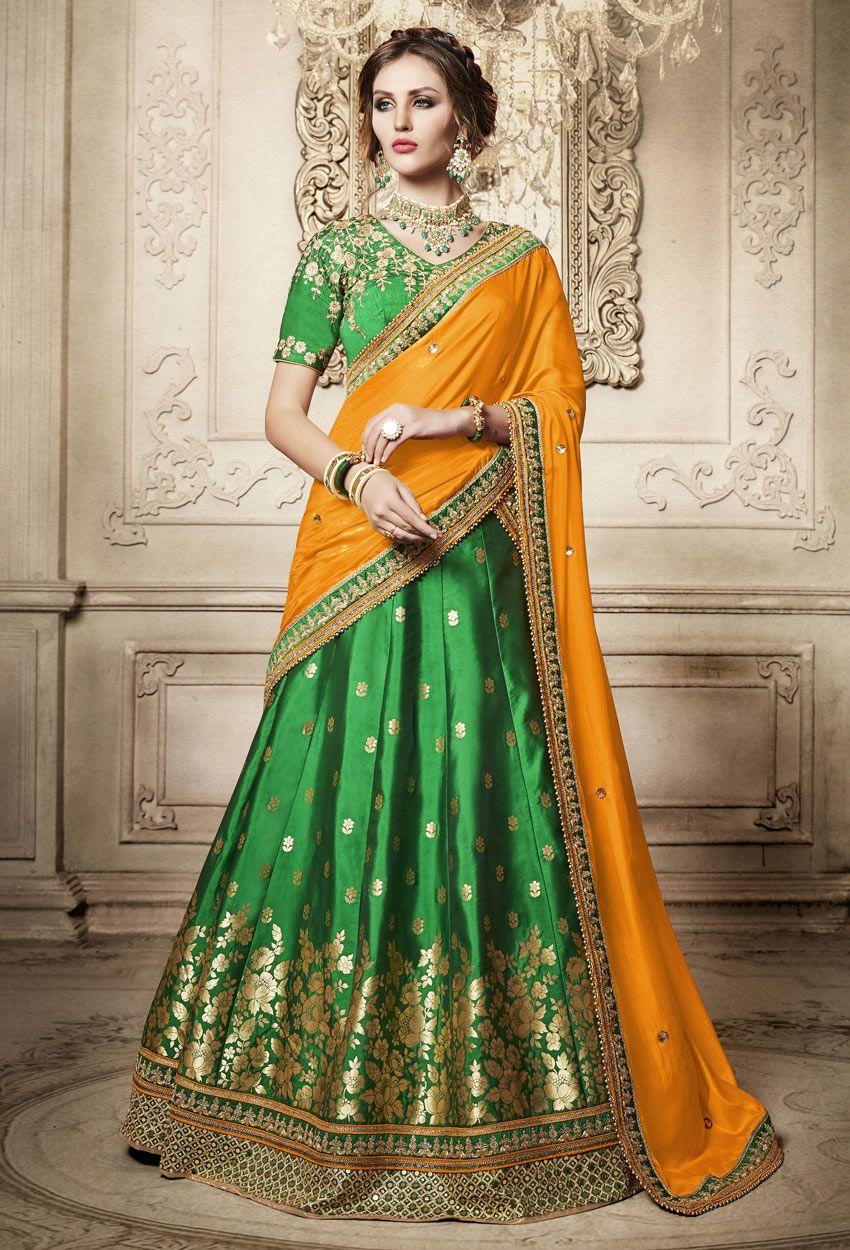 c2a8770a6705ee Green Brocade Indian Lehenga Saree For  engagement Lehenga  Style  Saree   nikvik  usa  designer  australia  canada  freeshipping