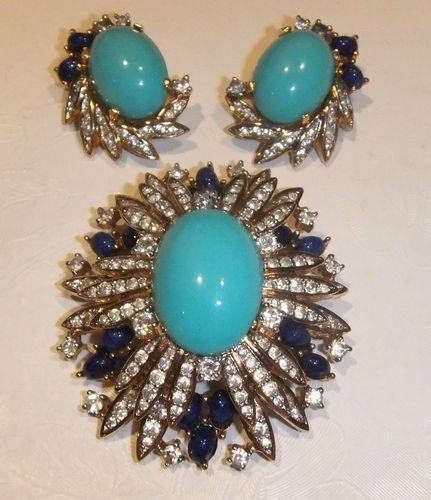 Vintage Designer JOMAZ Brooch wEarrings Vintage Costume Jewelry