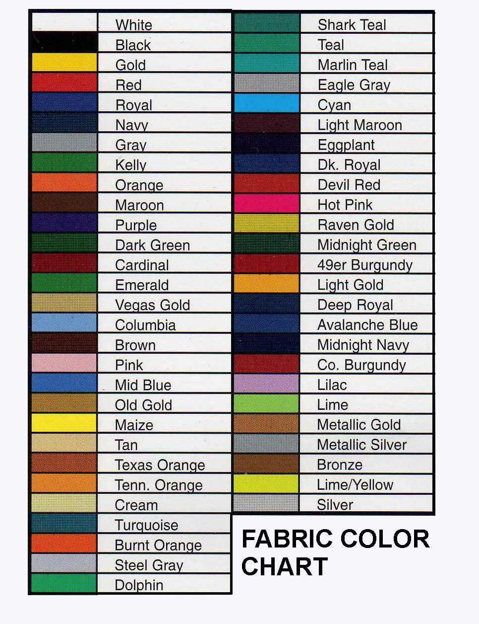 Fabric Color Chart | rangers | Color, Color names, Color pallets
