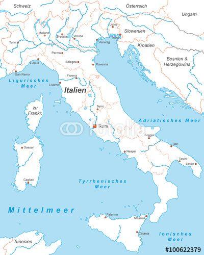 Vektor Italien Mit Stadten In Weiss Beschriftet Landkarte