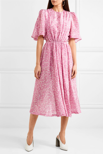 Gathered Floral-print Georgette Midi Dress - Pink pushBUTTON Popular Cheap Price Sale Pay With Paypal eiUMLrxhfW