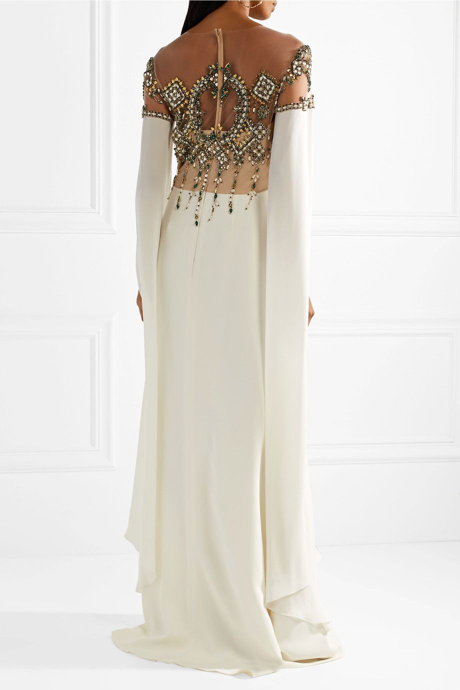 Embellished Tulle-paneled Silk Gown - Ivory Reem Acra Outlet Find Great Big Discount Cheap Online Order Cheap Price Buy Cheap Nicekicks Affordable For Sale hUcV4LgRa5