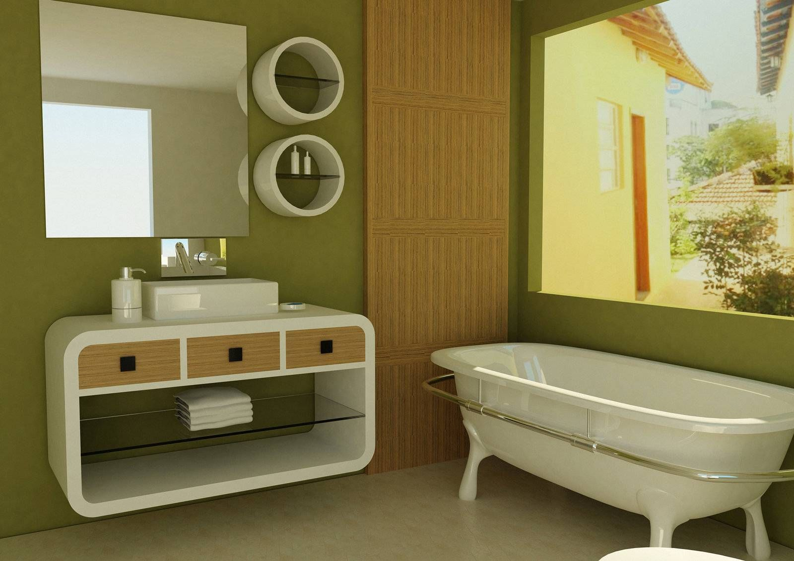 Photo Gallery For Website Green wall with white bathroom vanity and bathtub for cool green bathroom My house Pinterest Green walls White bathroom vanities and D cor ideas