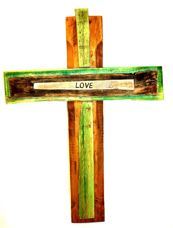 """Unique Rustic Hand-Made Wooden """"Love"""" Cross Made From Reclaimed Pallet Wood. $32.00, via Etsy."""