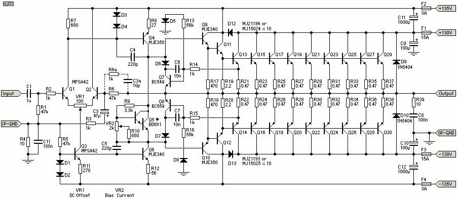 this is a very high 1500w power amplifier circuit diagram by rod