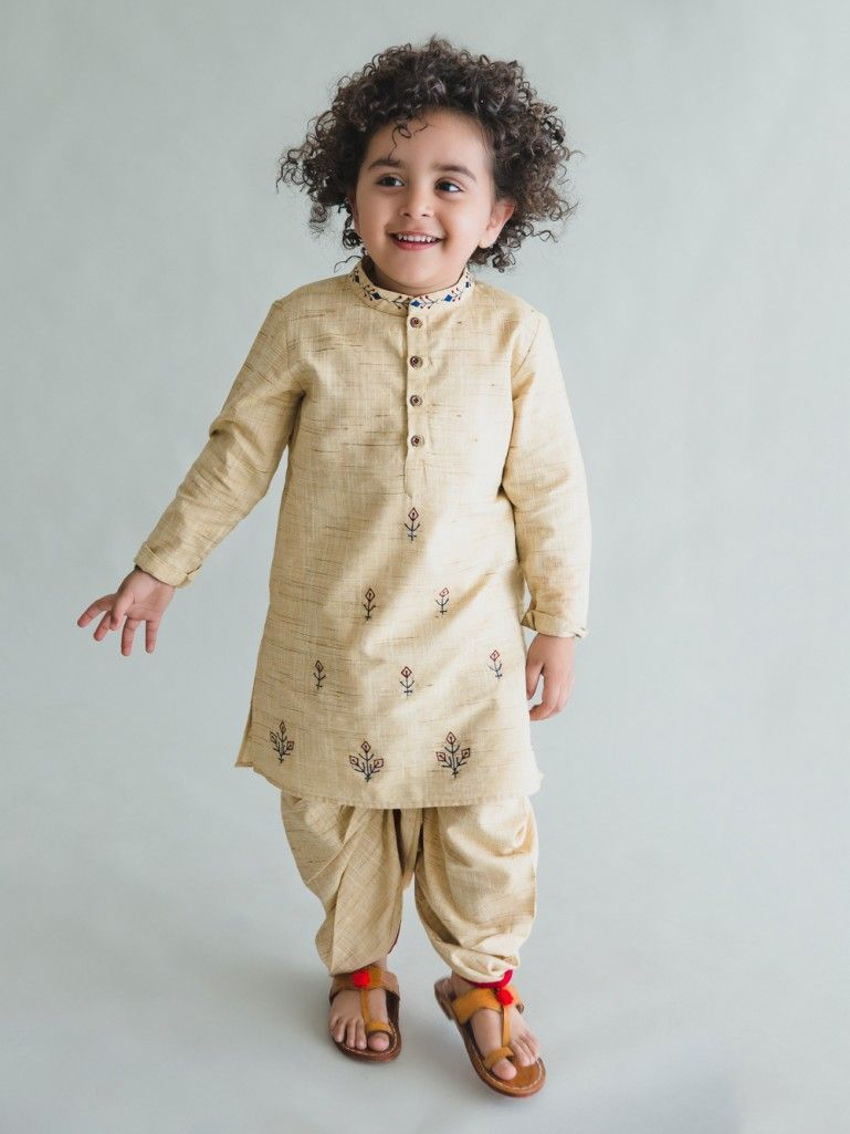 9ce493a9 Beige Embroidered Khadi Cotton Kurta with Dhoti - Set of 2 | The ...