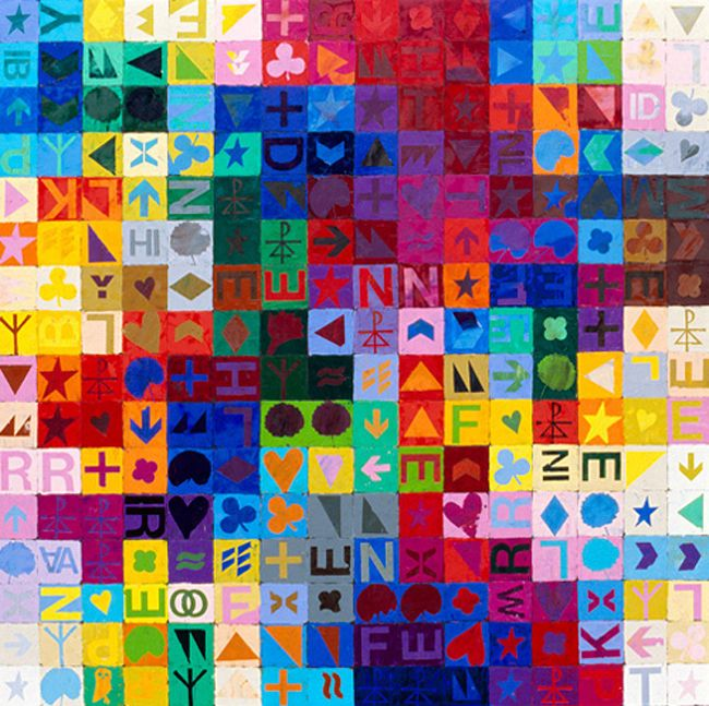 Vancouver artist Bratsa Bonifacho. Bratsa uses symbols and typography to depict computer viruses and the scrambling effect they create. His use of colour and the intense palettes created are just stunning.