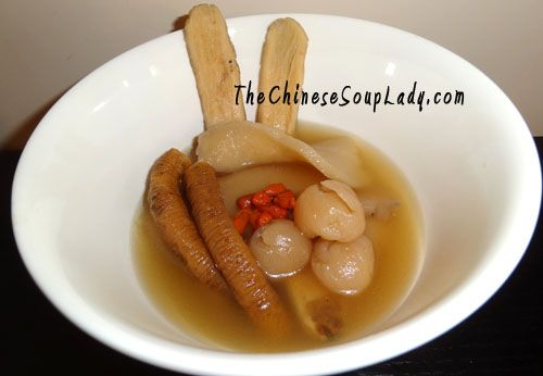 Herbal Pork Soup with Longans (and Ginger): It is a naturally and mildly sweet soup  It is warming and brings heat to the body (more heat if you add ginger)  Excellent post natal soup for confinement mothers, but also ideal for cold winter days  Helps with blood circulation and improving immunity