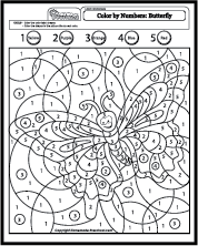 Butterfly Math Activity Printout - ZoomDinosaurs.com | Butterfly Math Coloring Page  | title