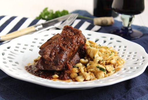 Slow Cooker Braised Beef Short Ribs with Herbed Spaetzle Recipe on Yummly