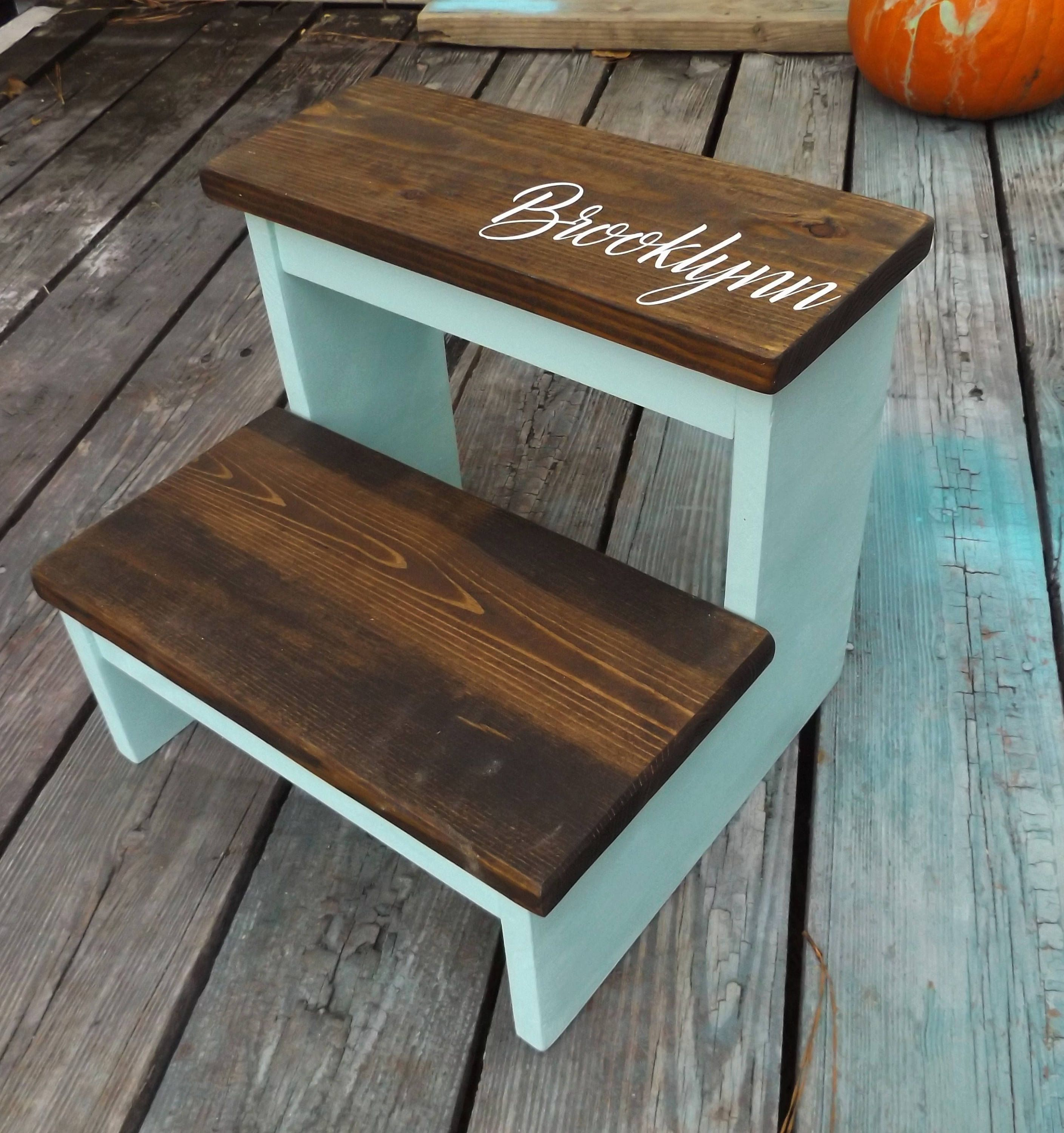 Step Stool Kids Toddler Wooden Step Stool Personalized Step