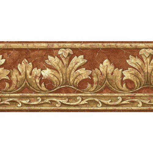 Golden Gold Beige Acanthus Leaf Scroll Faux Green Bead Molding Wall paper Border