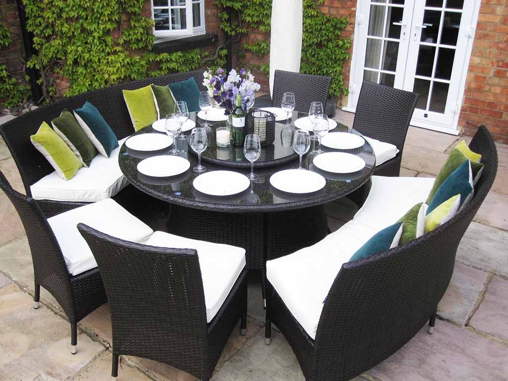 Nice Large Round Dining Table Benches And Chairs Rattan Garden Furniture Set  Seats 10