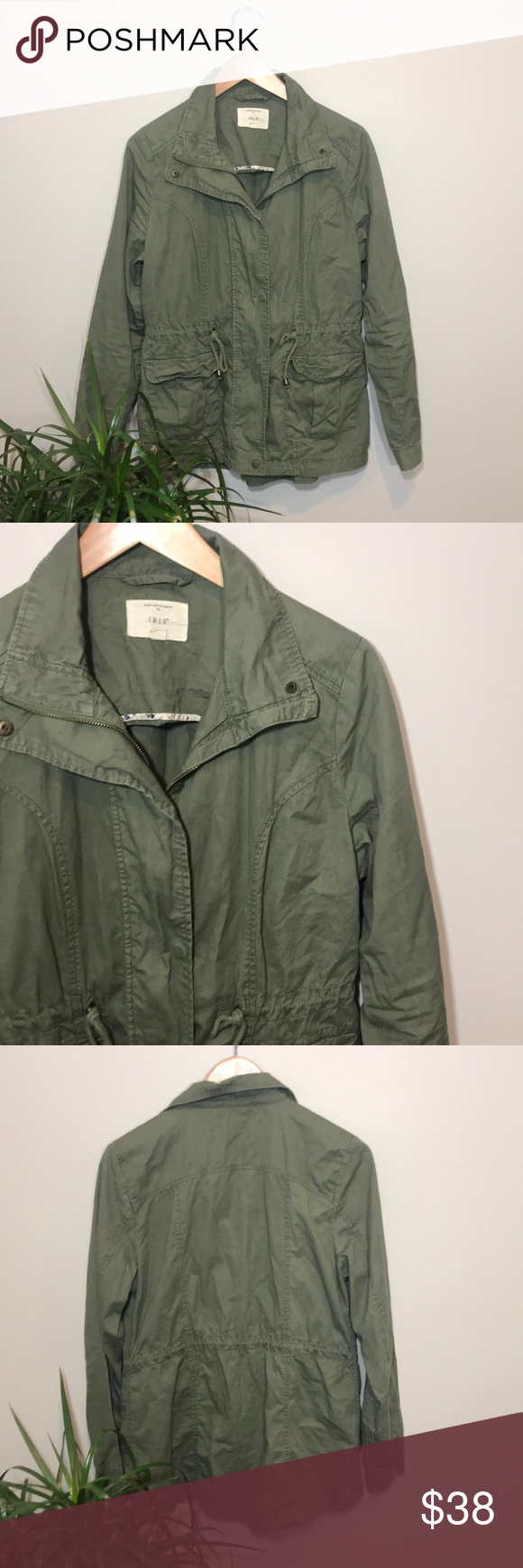 d6e3f0373afd Iris army green military jacket Iris army green military jacket - size  medium. Zip up
