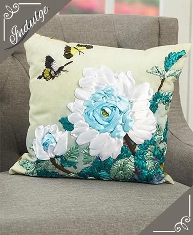 Handcrafted Ribbon Embroidered Pillows
