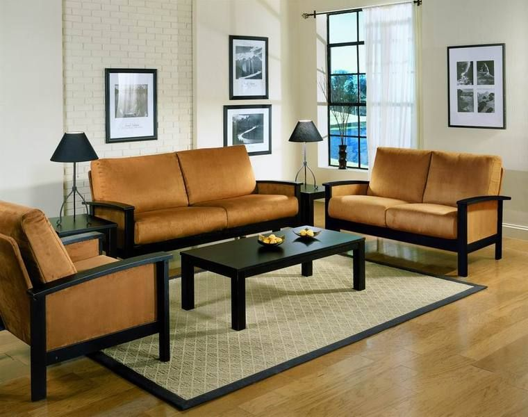 Simple Living Room Wood Furniture Design with Wall Mounted Arts and Wooden  Floor also Yellow Sectional simple wooden sofa sets for living room Google Search Decors