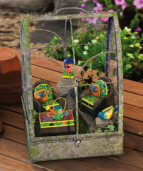 Take a look at the Garden Charm Mini Garden Furniture Set on #zulily today!