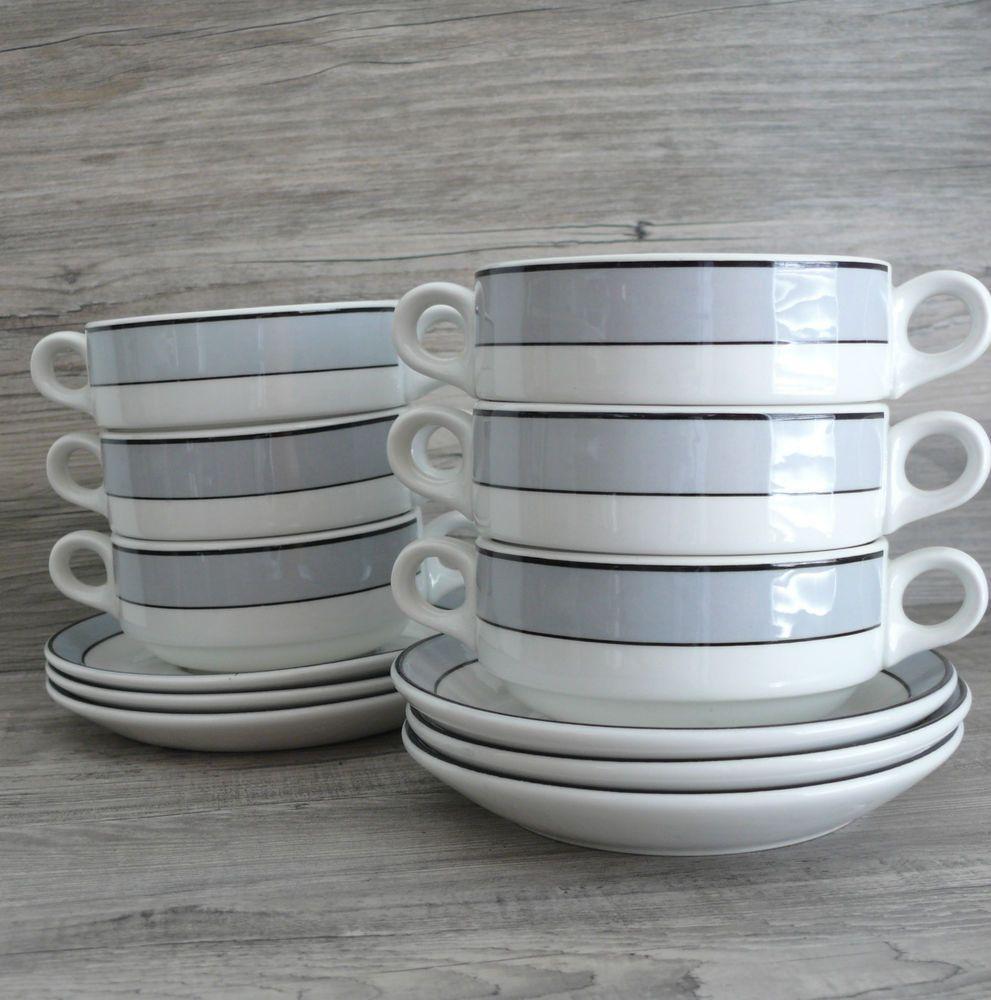 Six Soup Bowls & Saucers Two Handle Steelite England Onion Soup 8 oz Grey Stripe #SteeliteInternational