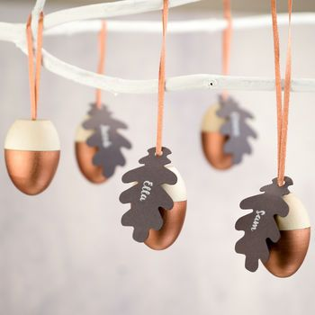 Personalised Hollow Wooden Acorn Christmas Decorations Leaf