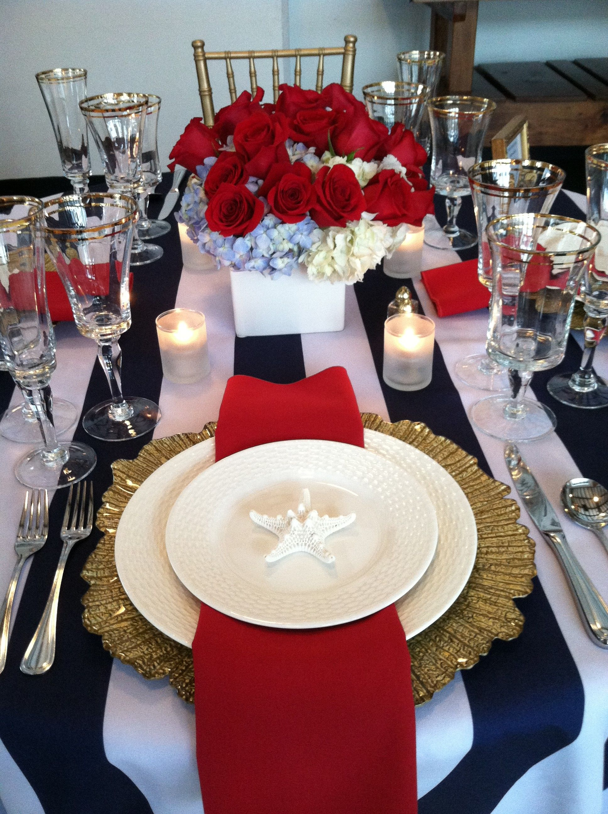 Red White Blue And Gold Nautical Tablescape Theme Blue And White Stripped Tablecloth Gold Charger Gold Table Setting Red Napkins Rose Gold Wedding Decor