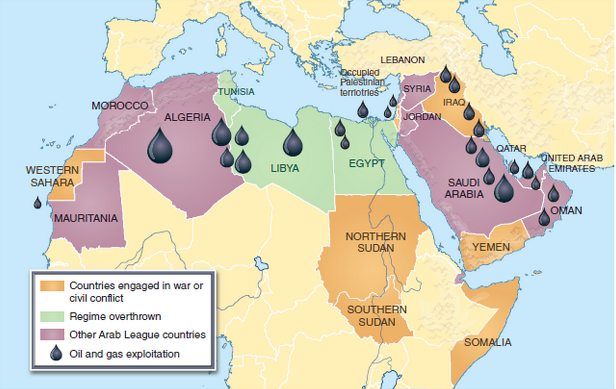 map depicting countries impacted by the arab spring