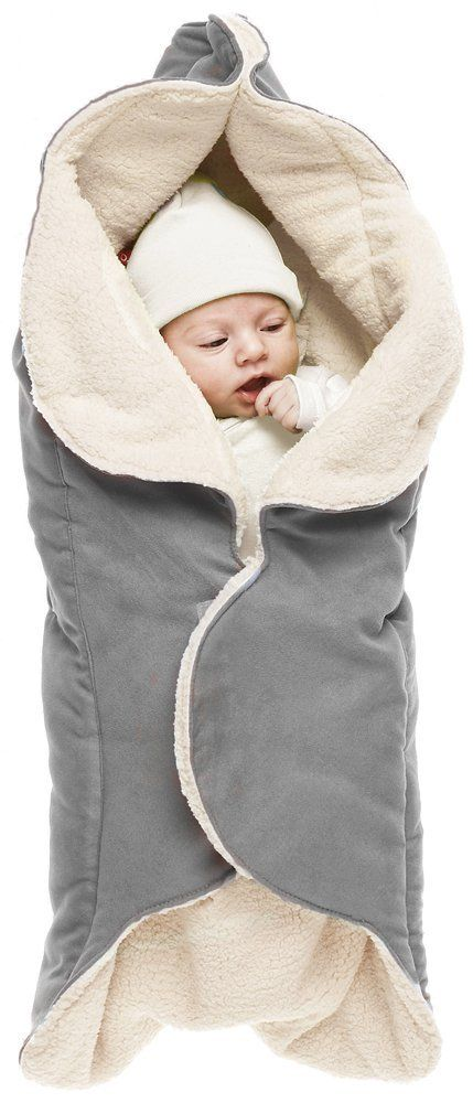 Wallaboo Fleece Baby Wrap Car Seat Pram Liner Grey Baby 3