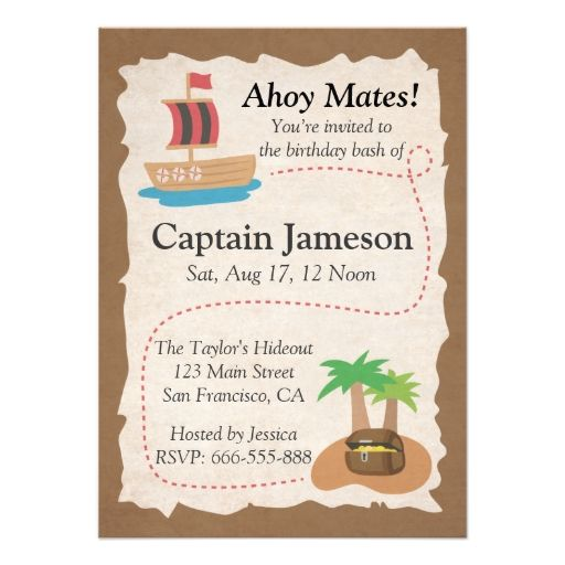 Treasure Map Pirate Theme Birthday Party Custom Invitation