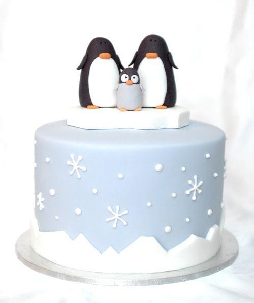 Se Wintertorte mit Pinguinen  Torten zu Weihnachten in