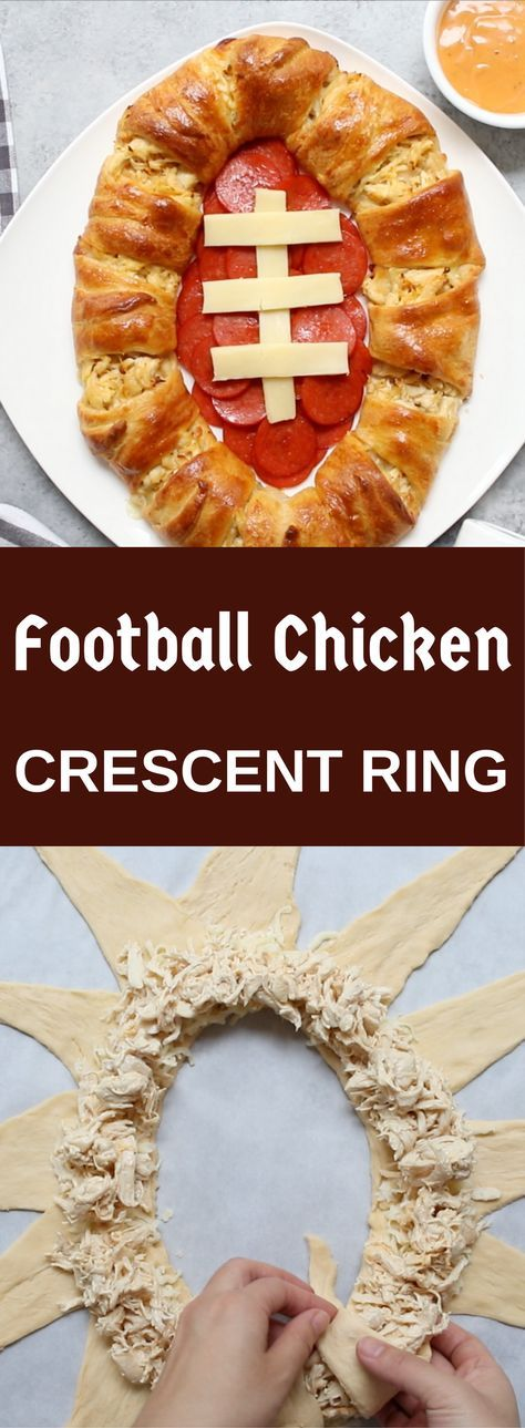 Here is a versatile recipe that you can make for Game Day or any other day… Football Chicken Crescent Ring is a football shaped pastry made with crescent rolls, stuffed with cheese, leftover chicken and ranch dressing…