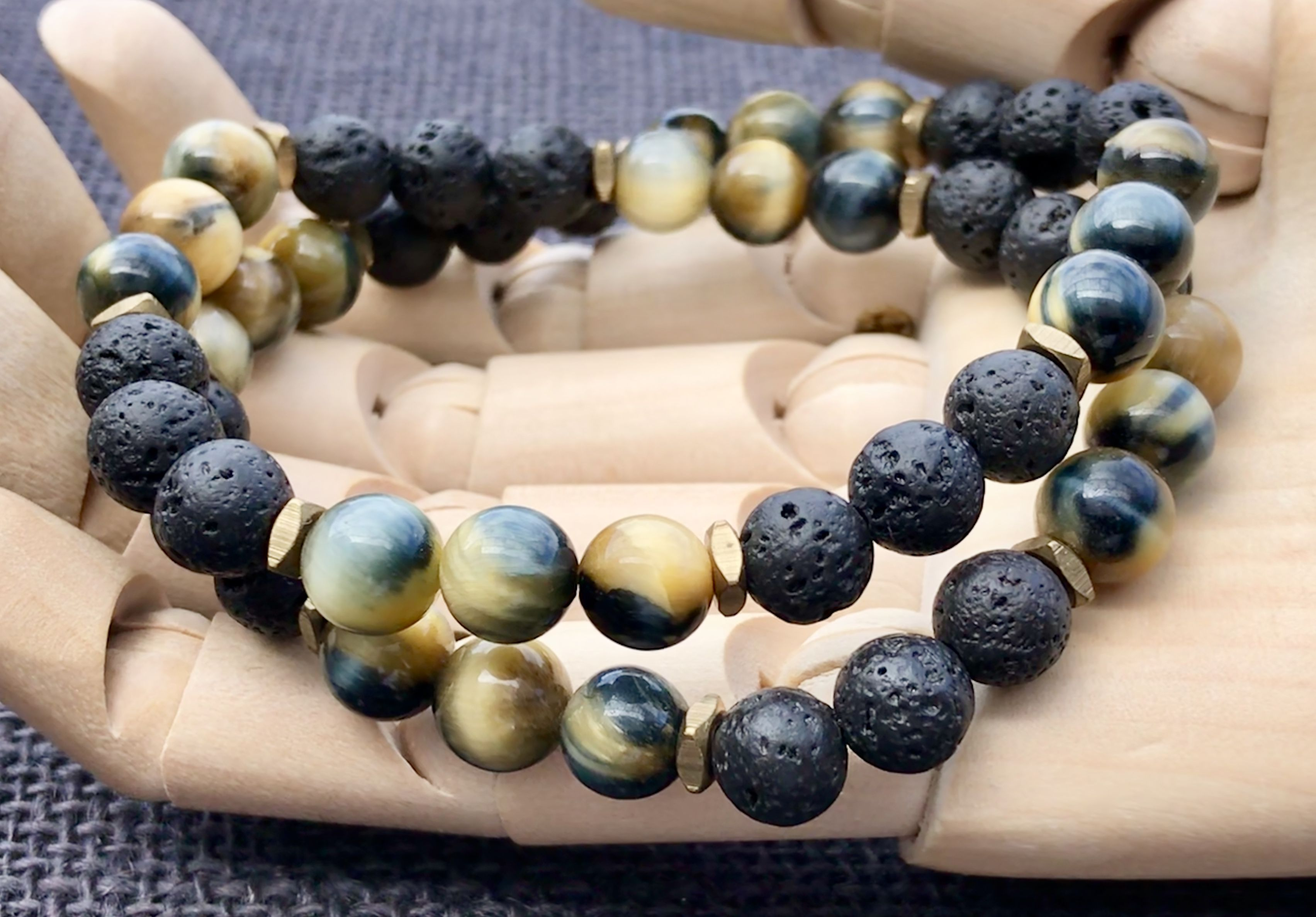 Layered unisex beaded bracelet with blue gold tiger eye and