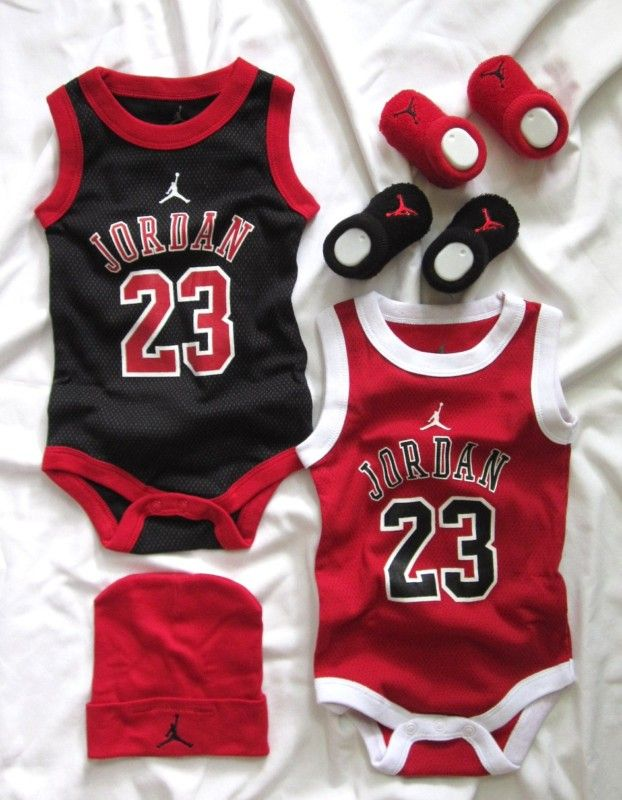 6eadde93629 New Nike JORDAN  23 Baby Boys 5pc Bodysuits Hat Booties 0-6 Mon 0000 000 00  NWT