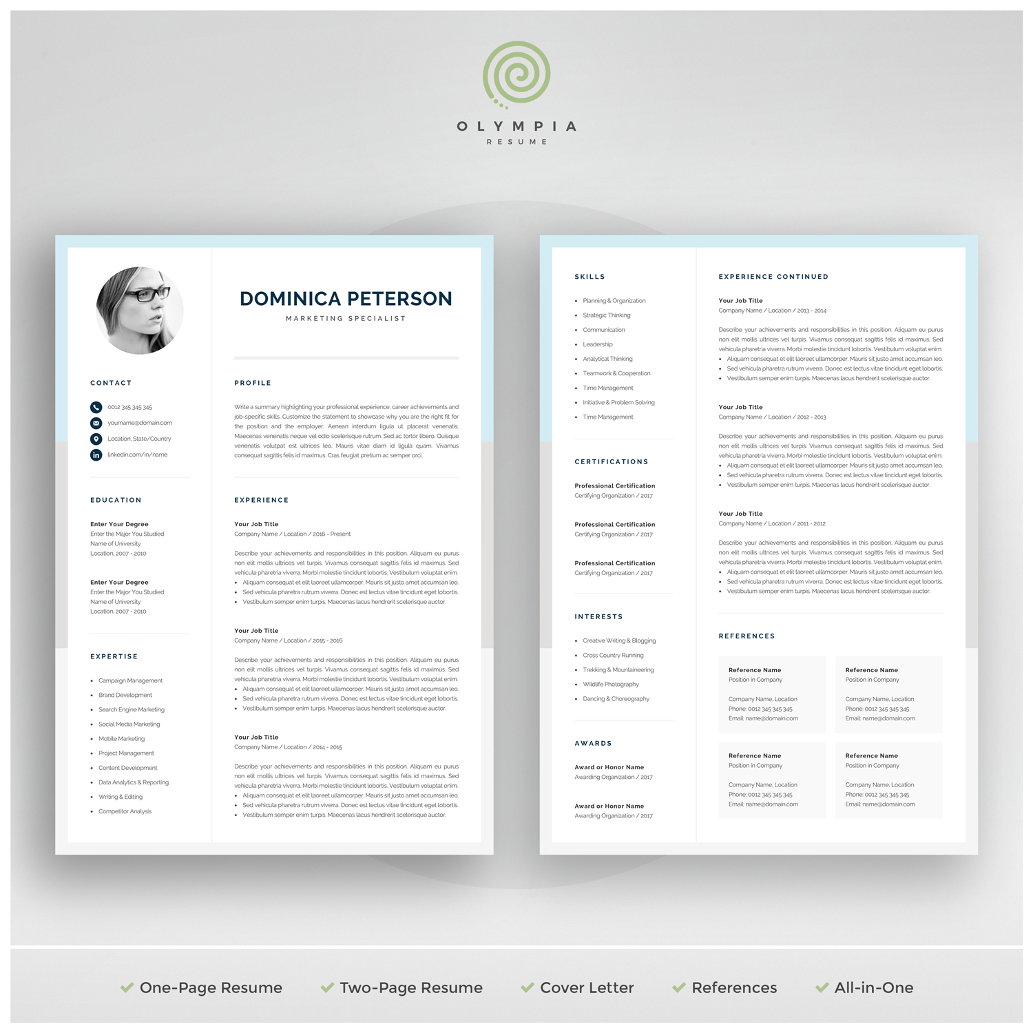 Modern Resume Template Creative Cv With Photo 1 2 Page Marketing Cv Photo Resume For Word Mac Or Pc Instant Download Dominica
