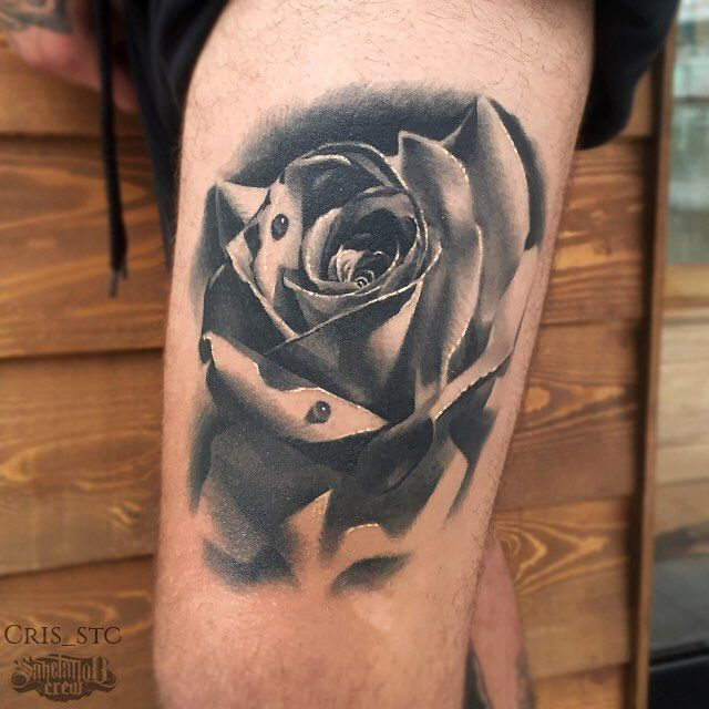 1d707890171f9 Realistic Rose Tattoo From Cris! #realism #realistic #black #grey #rose  #thigh