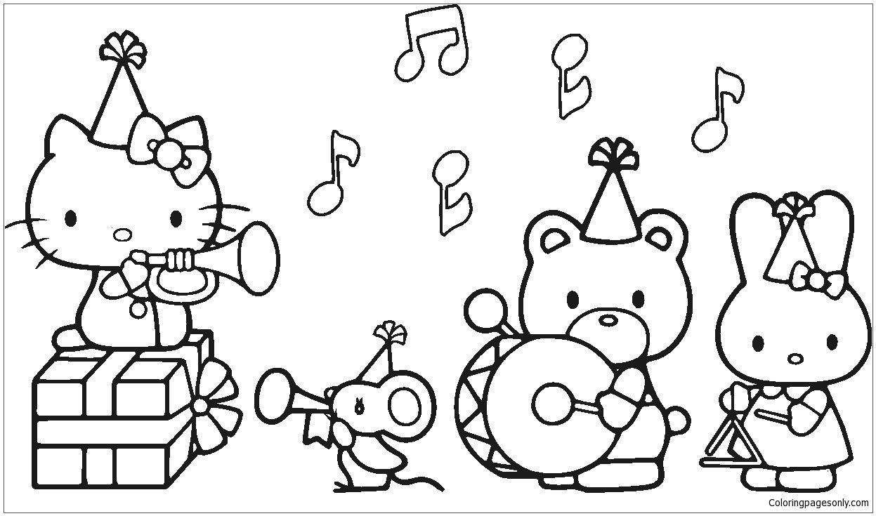 Ausmalbilder Hello Kitty Delfin : Hello Kitty Music Coloring Page Hello Kitty Coloring Pinterest