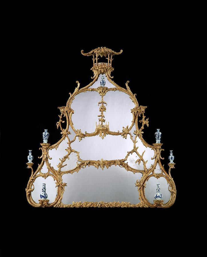 A GEORGE III REVERSE MIRROR PAINTING IN A GILTWOOD FRAME ATTRIBUTED TO JOHN LINNELL - E...