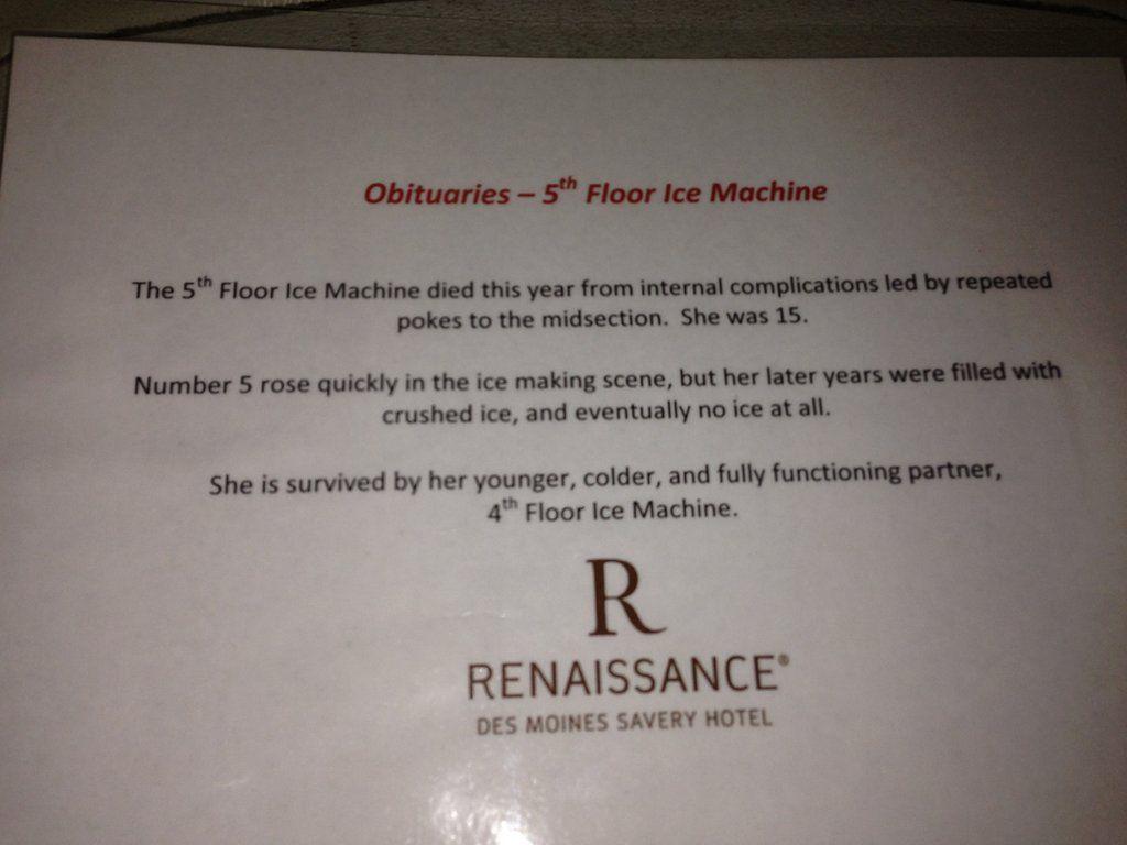RIP 5th floor ice machine.